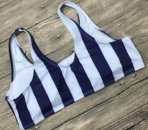 2020 Retro Sexy Blue Striped Bikini Set Bandeau Biquini Nature Waist Swim Bathing Suit Swimsuit Swimwear Women Tank Bikini55