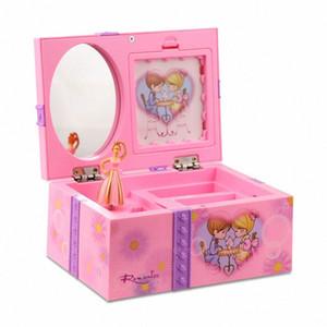 Mit Spiegel Speicherring Organizer Musical Jewelry Box Home Decor Kinder Spielzeug Ballerina-Mädchen Wind Up Schlafzimmer DIYCute Foto-Halter XSOi #