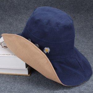 X8wik été de mode été pare-soleil pliable seau de seau de la mode coréenne de femmes cool pêcheur pêcheur frais chapeau en tissu de chapeau de plage