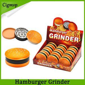 햄버거 금속 분쇄기 55mm 3 부품 아연 합금 재질 담배 분쇄기 연기 담배 드라이 허브 그라인더 도매 가격 빠른 배송