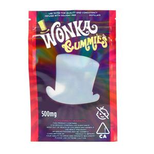 드라이 허브 꽃에 대한 Wonka의 gummies 가방 빈 WANKA 마일 라 가방 500mg의 지퍼 파우치 Smeproof 저장 소매 가방 포장
