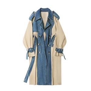 2020 Spring New Fashion Long Denim splice Trench Coat Women Double Breasted High Quality Windbreaker Women Slim Outerwear E0007