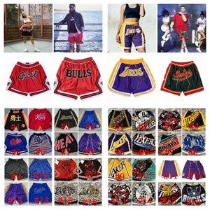 Mens genähtes Basketball Nur Don TaschenNBA Shorts Hip-Hop Alle Stadt Teams Name Jahr ID-Tags Throwback Sport Big Gesicht Günstige NEUE S-XXXL