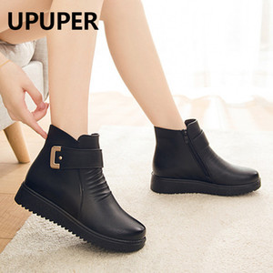 UPUPER Black Wedge Womens Winter Boots Non-slip Warm Fur Ankle Boots Women Cheap Leather Boots For Mother Winter Shoes Famale CX200822