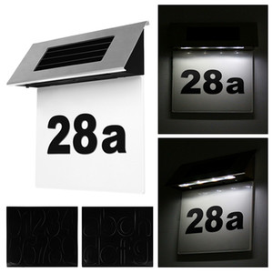 Konesky 1 Pc Stainless Steel Solar Powered LED House Number Lamp Outdoor Door Outdoor Wall Sign Light Sensor Automatic Switch