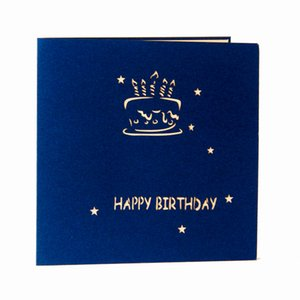 3D Birthday Cake paper laser cut pop up handmade post cards birthday greeting cards