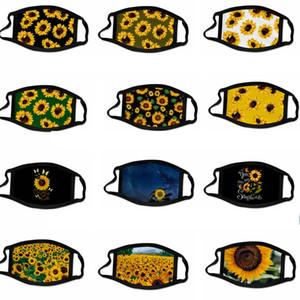 24style Sunflower Mask 3D Digital Gesichtsmasken Drucken elastische Gewebe-Tuch-Mund-Maske Wiederverwendbare Anti Haze staubdichte Abdeckung Mascarilla GGA3688-9