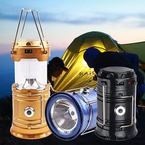 3-In-1 Camping Solar Power 2 Source Poweful Portable Outdoor Tent Light Lamp LED Flame Lantern Flashlights