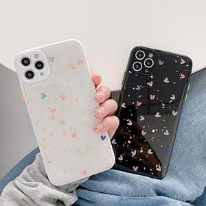 블링 사랑의 하트 골드 포 전화 케이스 아이폰 SE (11) 프로 맥스 X XR XS 최대 7 8 플러스 반짝이 부드러운 실리콘 커버 보호