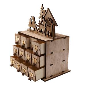 Weihnachten Holz Ornamente Adventskalender Schublade Schmuckschatulle für Hochzeitsdekoration des neuen Jahres Spielzeug Natural Crafts Su