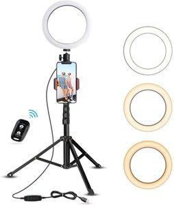 """anneau lumière LED trépied selfie Phone Holder 6"""" pour Diffusion en direct / Maquillage Mini Led caméra vidéo pour photo Anneau lumineux Compatible avec iPhone Android"""