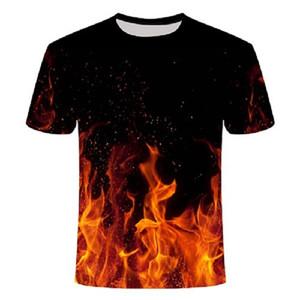 2020 camisa nova 3d t T preto Casual Top Camiseta Streatwear manga curta pano azul Red Flaming verão tshirt tshirt de Homens