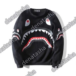 bape01 Yeni Geliş Erkek Kapüşonlular Moda Erkek Stilist Karikatür Köpekbalığı Baskı Kapüşonlular Ceket Erkekler Kadınlar Yüksek Kalite Casual Tişörtü Siyah