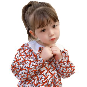 2020 New C-printed girl dress autumn high-end girls long-sleeved dress new children's baby western cute doll skirt princess dress