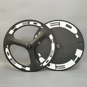 HED 700C عجلات الكربون الجبهة TRI-تكلم القرص الخلفي عجلة عجلة المسار / الطريق دراجة العجلات الفاصلة / عجلات الكربون أنبوبي مع الانتهاء من 3K twill ماتي
