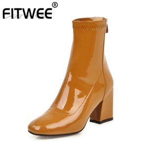 FITWEE Plus Size 33-46 Women Half Short Boots Square Toe Office High Heel Shoes Women Winter Casual Zipper Fur Short Boots