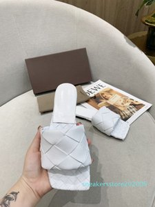 Designer women's slippers square mules shoes insoles nappa LIDO sandals lambskin women shoes luxury lady flat sandals top quality shoe s06