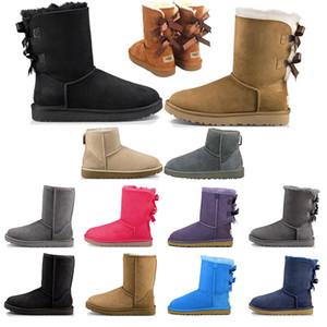 boots Botas para mujer Short Mini Classic Rodilla Tall Botas de nieve de invierno Diseñador Bailey Bow Tobillo Bowtie Negro Gris castaño rojo tamaño 5-10