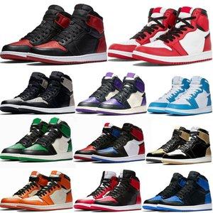 air scarpe Jumpman 1 Zoom Racer Blu Travis Scotts Fearless Obsidian Mens Basketball UNC 1s Chicago Banned Toe Bred di sport degli uomini del progettista della scarpa da tennis