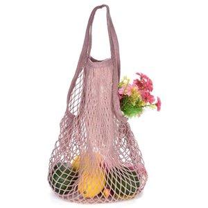String-Einkaufstasche Wiederverwendbare Supermarkt-Einkaufstüte Einkaufstote Ineinander greifen-Netz gesponnener Baumwolle Obst Gemüse Beutel für Einkaufs DHB1420