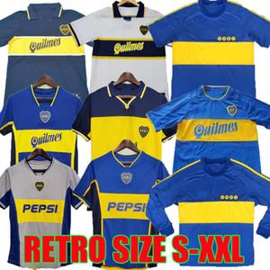 1981 1995 1996 1997 1998 1999 2000 2001 2002 2003 2005 بوكا جونيورز الرجعية لكرة القدم البلوزات قميص ROMAN MARADONA خمر كرة القدم الكلاسيكية 97 99
