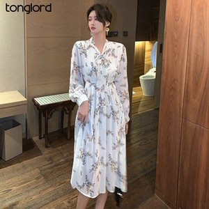 Tonglord 2020 осень Новый французский Колокольчик шифоновые платья женщин с длинными рукавами Толстые Цветочные Printed Лук Длинные платья с подкладкой