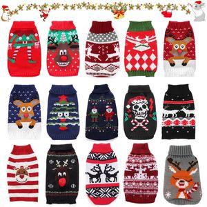 Pet Clothes Dog Cat Sweater traje para cães pequenos Cervos do Natal Roupa Cat Sweater Cães Brasão Halloween revestimento morno Pet knitte
