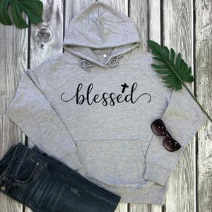 Hoodies blessed Cross New Arrival Unisex Funny Casual 100%Cotton Long Sleeve Tops Christian Pullover Hoodies Faith Outfits T200812