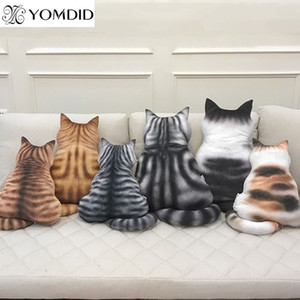 Strip Плюшевые подушки Назад Тень Удобная Cat Форма Заполненные животных Подушка Детский милый подарок Подушка игрушки