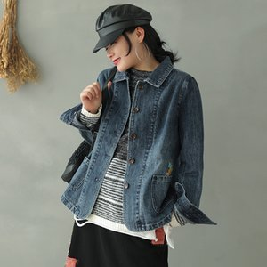2020 Spring Autumn jackets Fashion Women Loose All-match Denim Coat New Tops Cardigan Button Embroidery Casual jackets