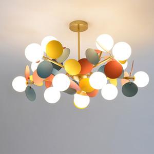 araña moderna iluminación llevado hojas multicolores luces colgantes dormitorio Salón Comedor lámpara de techo de la decoración del hogar
