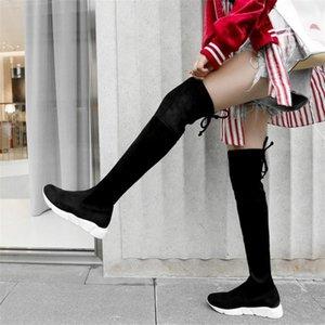 NAYIDUYUN botas altas da coxa Mulheres Velvet Cunhas Plataforma Baixa calcanhar sobre o joelho alta equitação Sapatinho Magro Leg Punk longo Sneakers