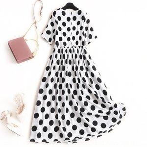glpA8 Weiou algodón y lino verano suelta Nueva muñeca temperamento falda polka dot impresos Doll Dress vestido de línea A-M3919