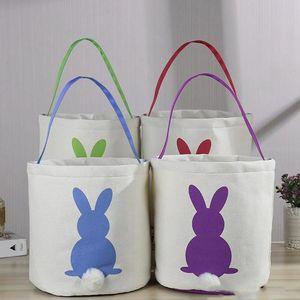 Paskalya Tavşan Sepet Yuvarlak Tuval Hediye çanta karikatür sevimli tavşan kuyrukları Paskalya Jüt tavşan koyun Kepçe DIY kova kova DWE709