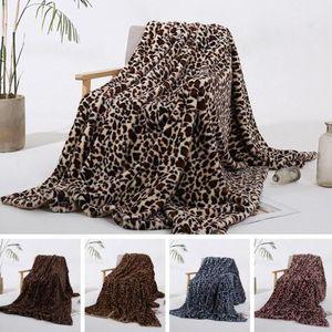 Mode Leopard Grain Couverture molleton Hiver chaud Couvertures Canapé Canapé Home Décor Couverture Europe Royaume-Quilt bébé DHE910