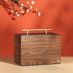 2020 New Luxury Large Wooden Jewelry Box Organizer 4 layer Jewelry Storage Case Casket Earring Rings Necklace Jewellery Boxes