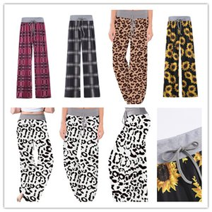 S-5XL Women Wide Leg Trousers Drawstring Elastic Pants Leopard Floral Plaid Flare Pants Yoga Loose Bloomers Plus Size Bottom Clothing E82001