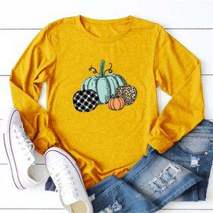 Camisa para mujer del diseñador caída Tops casual de las camisetas de Halloween para las mujeres Leopard calabaza Tops cuello redondo ropa transpirable