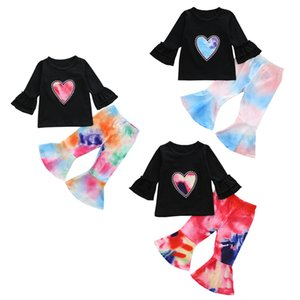 kids clothes girls Heart outfits children rainbow Love ruffle Flare Sleeve Tops+Tie dye Flared pants 2pcs sets Autumn baby Clothing Sets