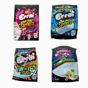 Hot Errlli Sour Terp Crawlers Mylar Taschen 600mg dankest Gummi Worm Geruch Proof Dry Herb Paket-Beutel DHL frei