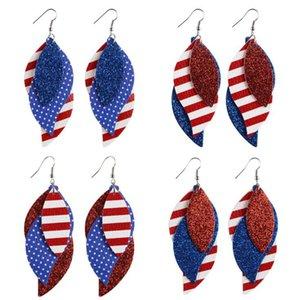 Cuoio Handmade Personalità genuina PU Stampa figura di foglio della bandiera americana della signora Women Earrings Jewelry Trasporto libero del DHL