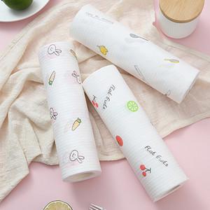 1 rollo de paños de limpieza para no Tejidos de Lazy trapos húmedos y en seco lavable Trapo de cocina desechables de papel del paño de cocina Las tareas del hogar