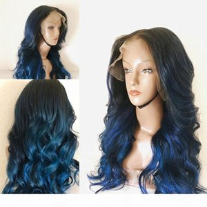 Ombre Blue Body Wave 360 Lace Frontal Human Hair Full Lace Wigs for Women PrePlucked Hairline 13x6 Deep Part Lace Front Wigs