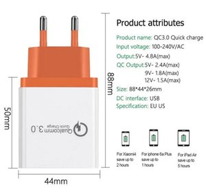 Cgjxs Qc 3 .0 Wall Charger 3 Ports Travel Adapter Quick Charge Multi-USB-Telefon-Adapter Eu Us Tragbare schnell aufladen für Samsung Smartphone