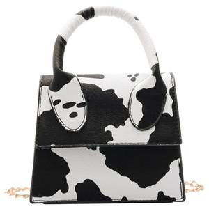 Litthing 2020 Vintage-Mini-Kuh-Druck-Beutel-Frauen Tote einzigartige Form Sattel Handtasche Luxus-Design Schultertasche Lady Retro Hand
