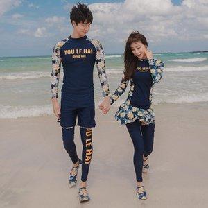 omGZq jiAl4 diving caliente pareja Swim de manga larga traje de baño surf snorkeling sol a prueba de traje de gran tamaño floral térmica