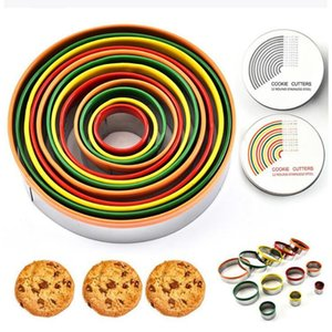 Colorful Stainless Steel Biscuit Cutting Set 12Pcs Set Round Shape Cutting Molds Mousse Cake Biscuit Donuts Cutter YYA366 sea shipping