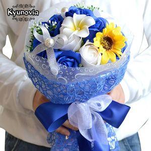 Kyunovia Savon Bouquet de tournesol Bouquet Saint Valentin cadeau Préservée Fleur cadeau d'anniversaire Décoration FE37