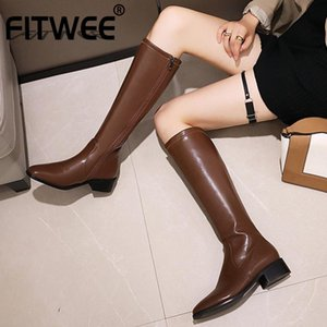 FITWEE Knee High Boots For Women Square Toe Zipper Thick Heel Solid Color Winter Fashion Ladies Footwear Outdoor Size 34-48