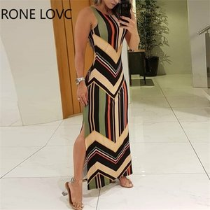 Women Sleeveless O-Neck Colorful Striped Print Side Slit Maxi Dress Elegant Fashion Chic Dress 0924